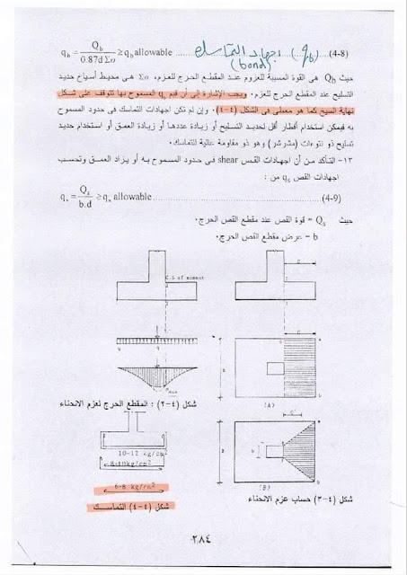 معادلة اجهاد التماسك للقاعدة المنفصلة حسب الكود المصري