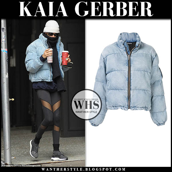 Kaia Gerber in light blue alexander wang puffer jacket and black leggings. winter style december 11