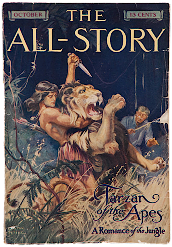 Tarzan, knife in one hand, grabbing a lion that's rearing up in strangle hold with other arm from behind / 'Tarzan of the Apes: A Romance of the Jungle'