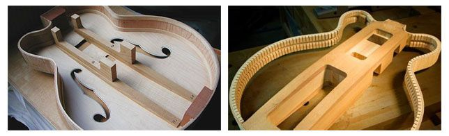 Interior de las Guitarras Gretsch de Caja Hueca y Semi-sólida