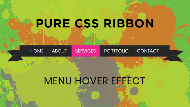 Pure Css Menu Hover with Ribbon Effect