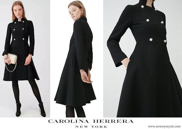 Queen Letizia wore Carolina Herrera Double Breasted Wool Blend Coat