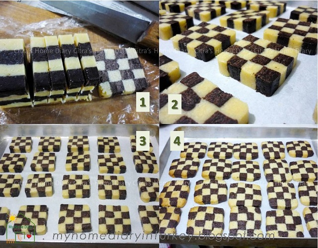 Checkerboard Cookies / Kue Kering Domino | Çitra's Home Diary. #holidaycookies #kuekeringlebaran #kuekeringdomino #checkerboardcookies #resepkuekeringlebaran #cookiesrecipe #chocolatecookiesrecipe