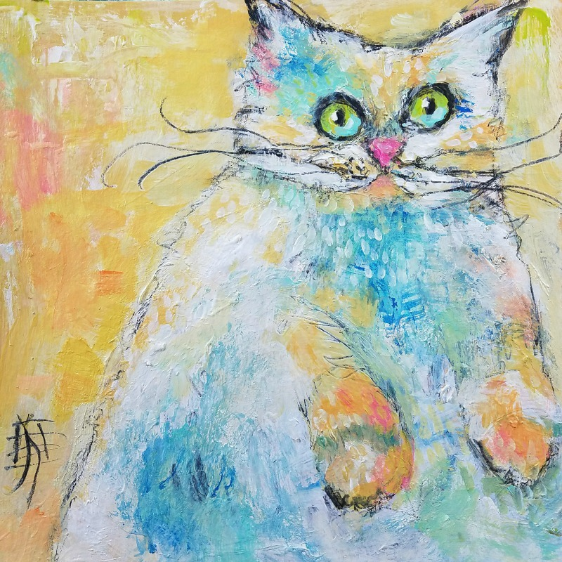 cat #1 revised by joanie springer 30 paintings in 30 days