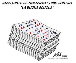la buona scuola, istruzione, firme, referendum, scuola, vignetta, satira