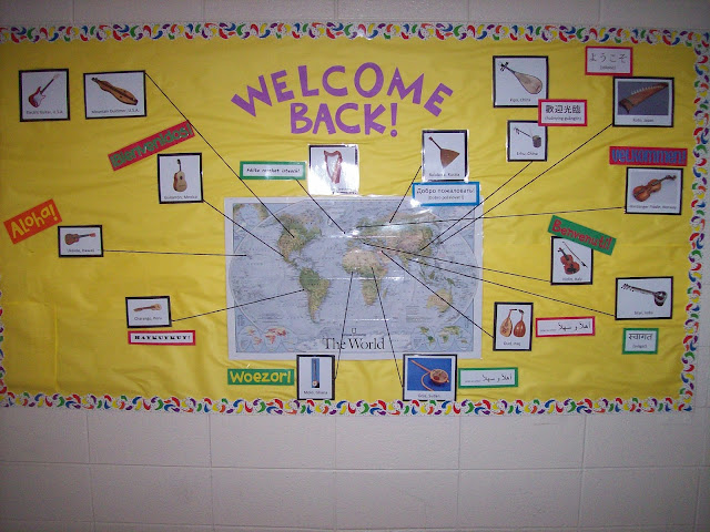 Welcome bulletin board world instruments