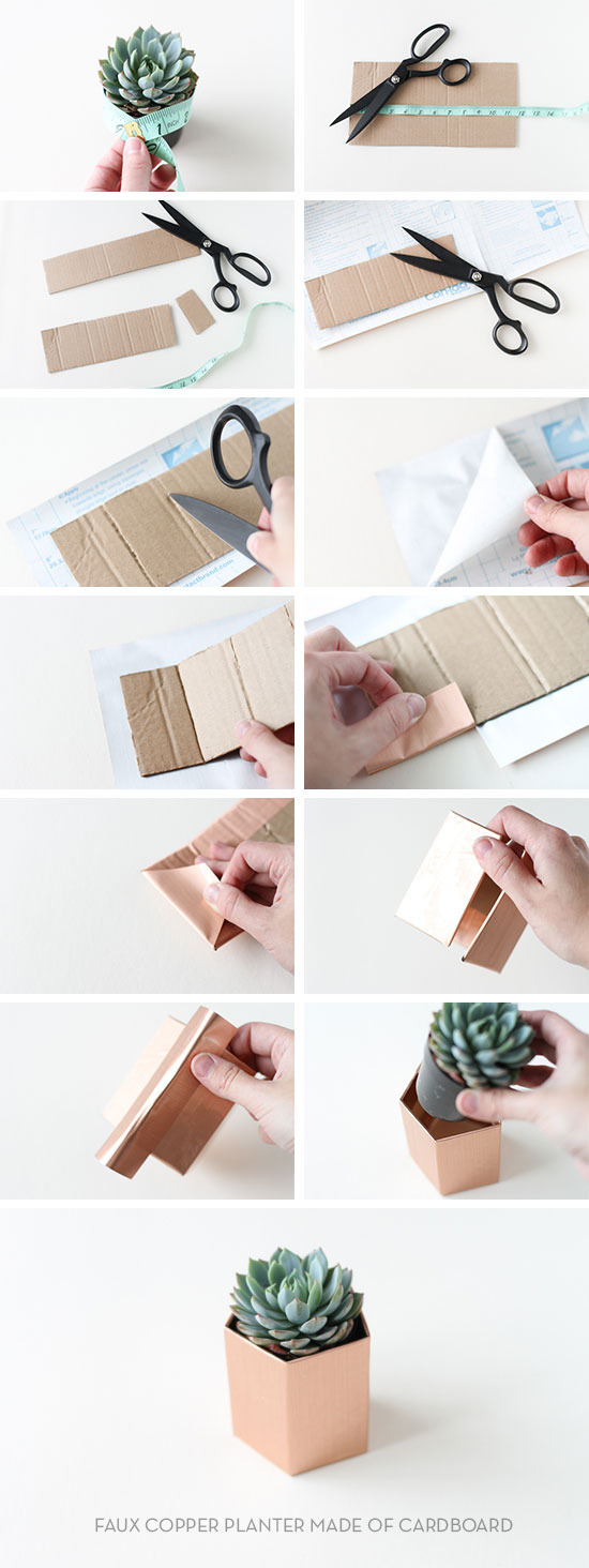 materiales macetero cartón geométrico