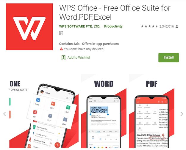 تحويل وورد إلى PDF تحميل تطبيق WPS Office