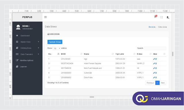 Tampilan Data Siswa Review Aplikasi Perpustakaan Berbasis Web, PHP, MySQL dan Codeigniter