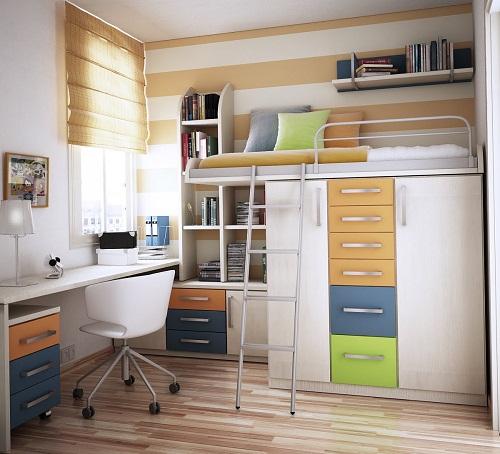 Bàn làm việc, tủ quần áo, giường ngủ tất cả đều có trong không gian này