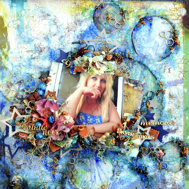 Step by Step Tutorial Mixed Media layout-canvas Sea Sweet Tooth
