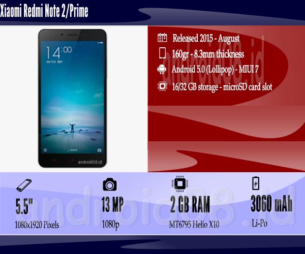 Spesifikasi Xaomi Redmi Note 2/Prime