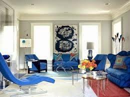 sala decorada sofá color azul