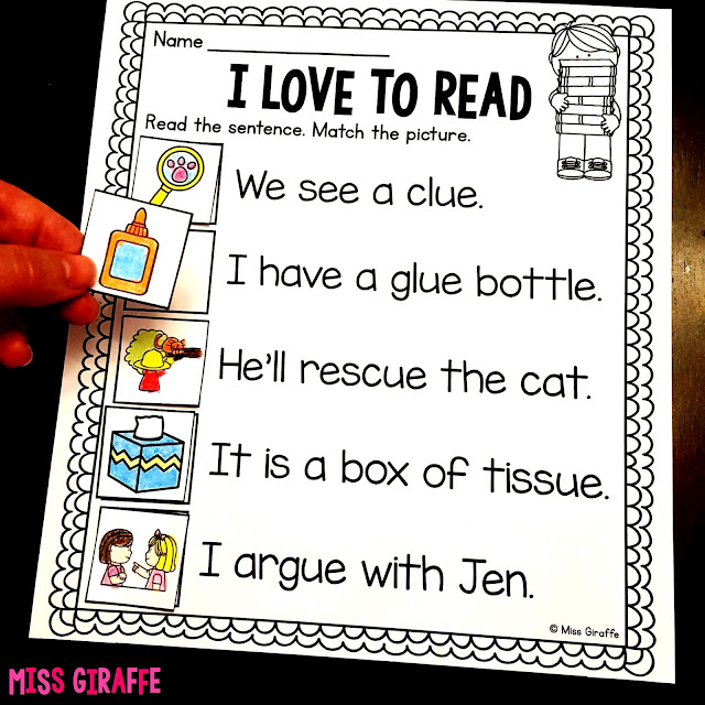Match the pictures to the correct sentence - so much great reading practice in these pages! Click to see pictures of them in action!