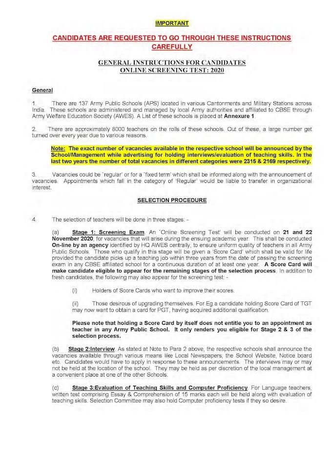 Army Public School Recruitment 2020 PGT/ TGT/ PRT – 8000 Posts aps-csb.in Last Date 20-10-2020