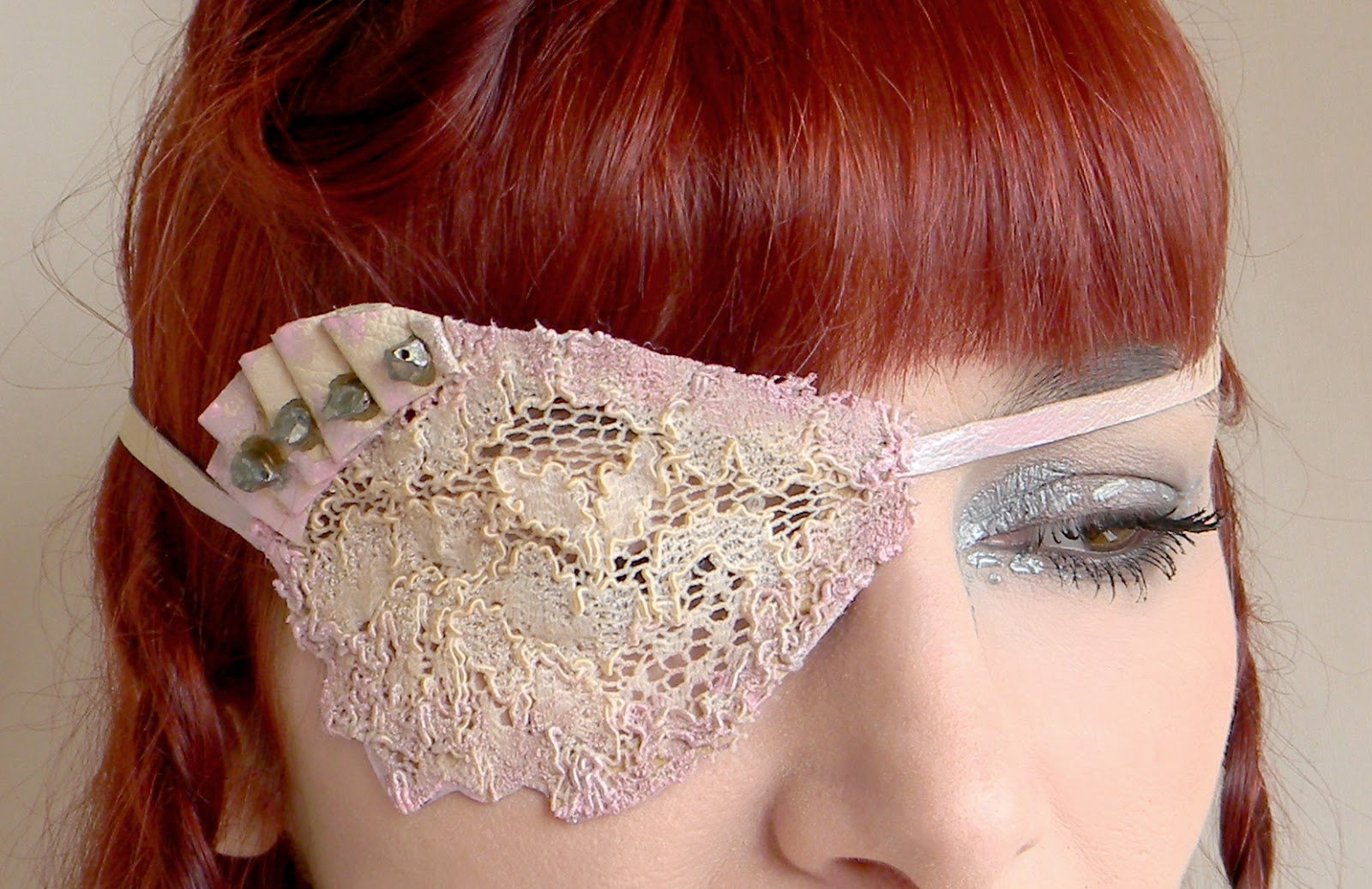 Unique Jewelry Fashion Eyewear Eye Patch Headband Handmade Shabby