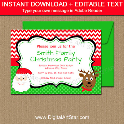 Printable Christmas invitation with Santa and reindeer