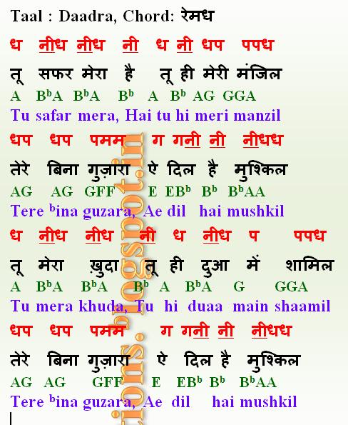 Notations of songs Gane ki Lyrics v Sargam ya Swarlipi ya Notes: Tu
