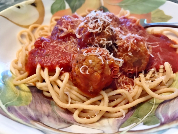 Sausage & Lentil Meatballs with Spaghetti and Sauce