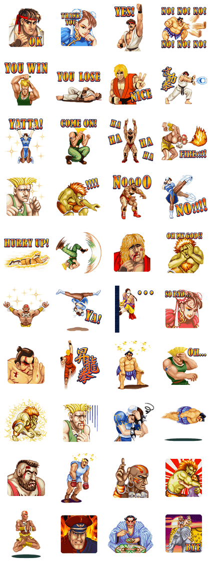 Sell line stickers street fighter ii send as gift to you