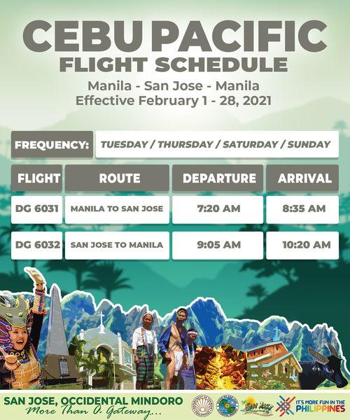 CEBU PACIFIC Airlines FLIGHT SCHEDULE Manila to San Jose Occidental Mindoro