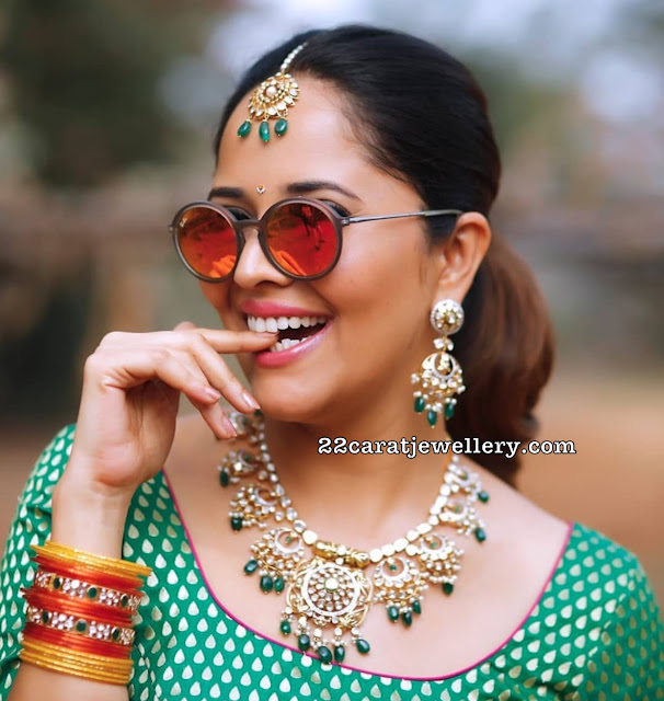 Anasuya Polki Diamond Emerald Set