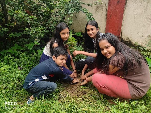 बच्चों ने पौधा रोपण कर प्रधानमंत्री को दी जन्मदिन की बधाई