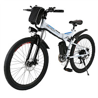 Ancheer Folding Electric Mountain Bike with Full Suspension, review features compared with Power Plus mountain e-bikes