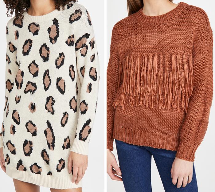 LEOPARD sweater dress fringe rust sweater shopbop