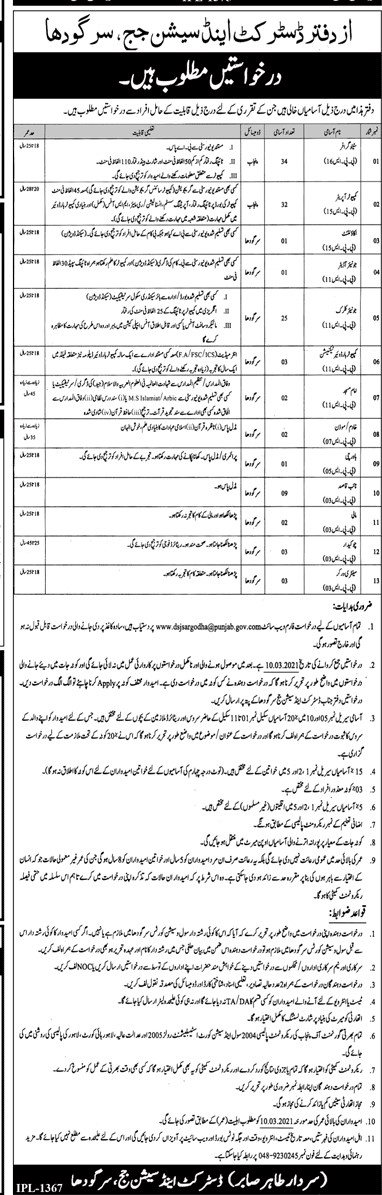 District and Session Court Jobs 2021 - Sargodha Jobs 2021 - Department District and Session Court Sargodha Jobs 2021 Application Form :- sargodha.dc.lhc.gov.pk