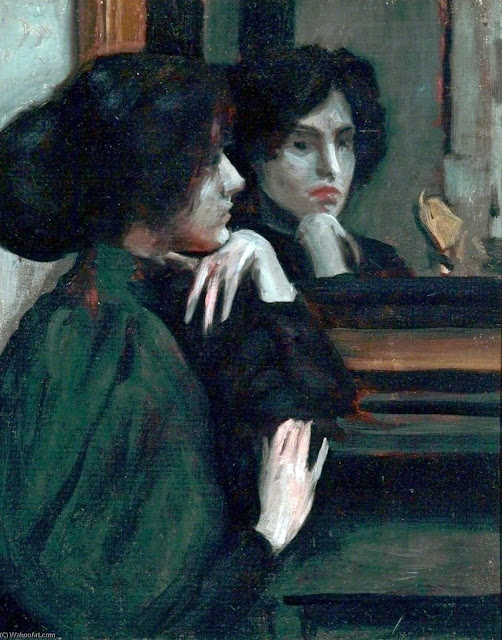 Woman in the mirror, Philip Wilson Steer, International Art Gallery, Self Portrait, Art Gallery, Wilson Steer, Portraits of Painters, Fine arts, Self-Portraits, Painter Philip Wilson Steer
