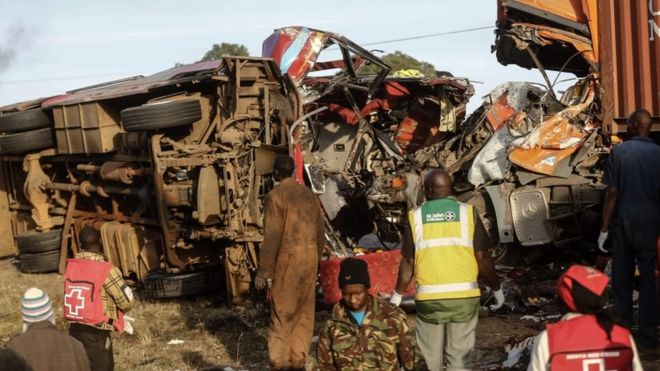 Dozens killed in bus and lorry road crash in Kenya