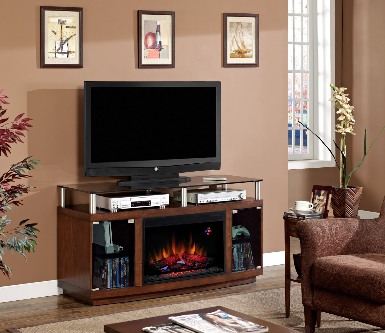 Home Priority Impressing Electric Fireplace Tv Stand For Impressing Room