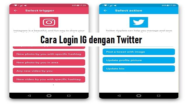 Cara Login IG dengan Twitter