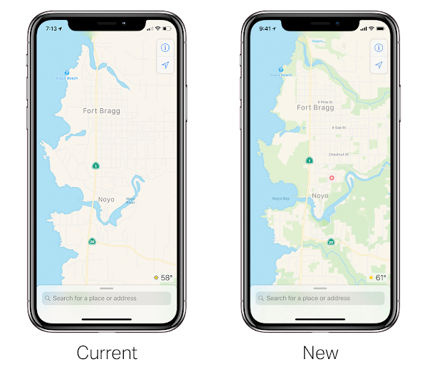 Apple maps 2018 old vs. new