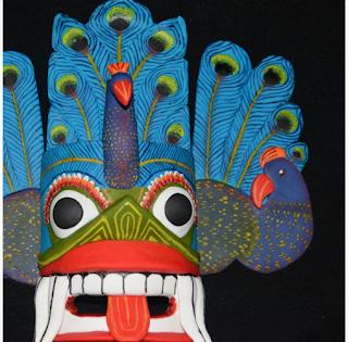 Masque de Mayura Raksha - Cindy Paschoud de De la Pâte Plein les Doigts