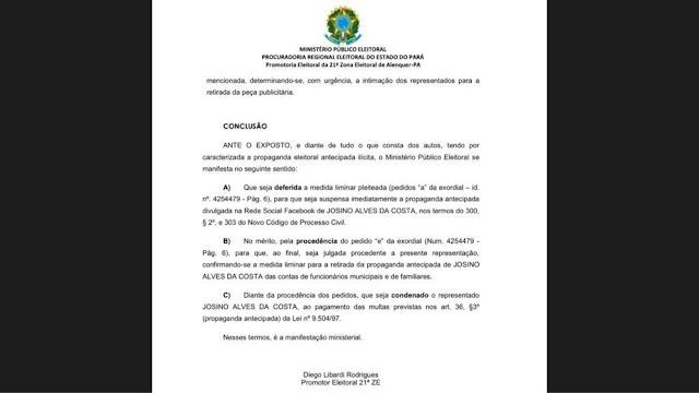 Ministério Público entra com ação contra candidato à reeleição por propaganda eleitoral antecipada