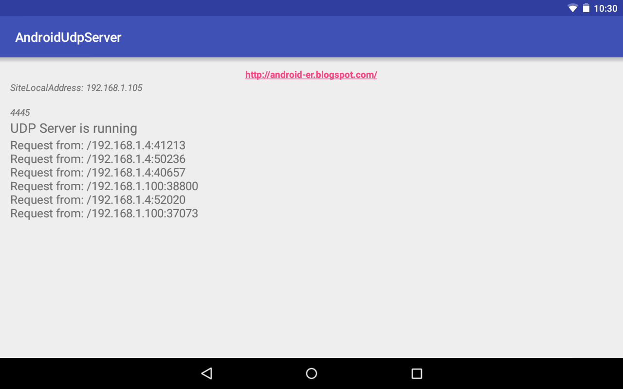 Android-er: Android Datagram/UDP Server example