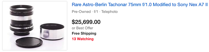 Объявление о продаже объектива Astro-Berlin Tachonar 75mm f/1.0