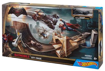 TOYS : JUGUETES - HOT WHEELS : Batman Vs Superman  Batmovil Persección por la Ciudad | Pista | City Chase  PELICULA 2016 | Mattel DJH61 | A partir de 4 años  Comprar en Amazon España
