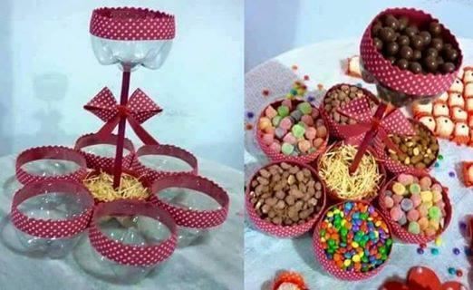 Blog de fiestas ideas para poner una mesa de dulces super - Como hacer centros de mesa con dulces para bautizo ...