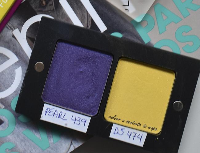 Paleta customizable de Inglot, en tonos morados y amarillos