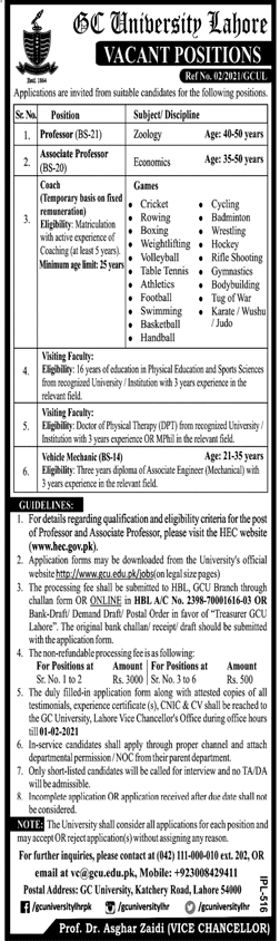 Government College University Lahore Jobs 2021 Apply Online