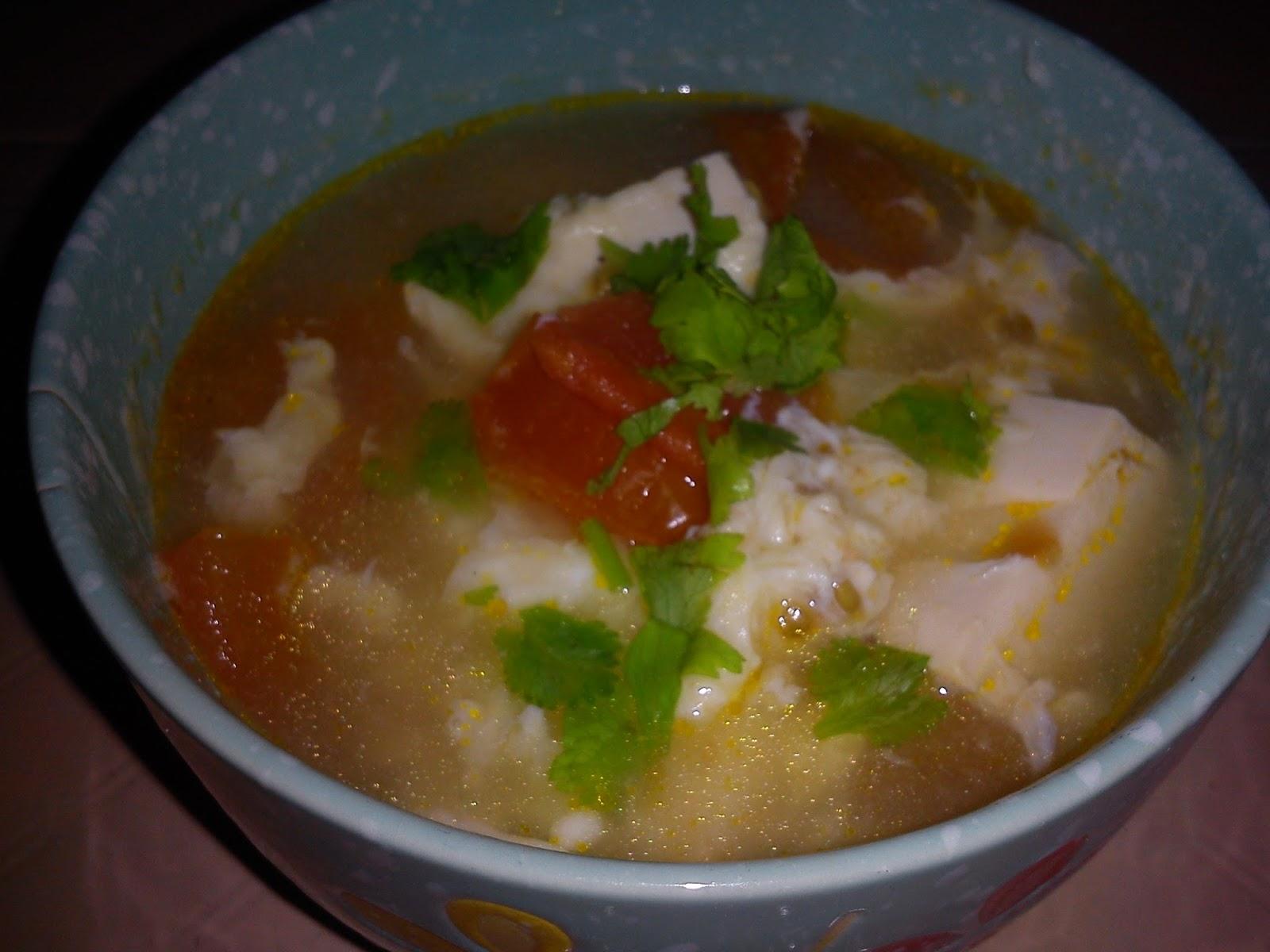 Cooking Pleasure: TOMATO TOFU EGG SOUP