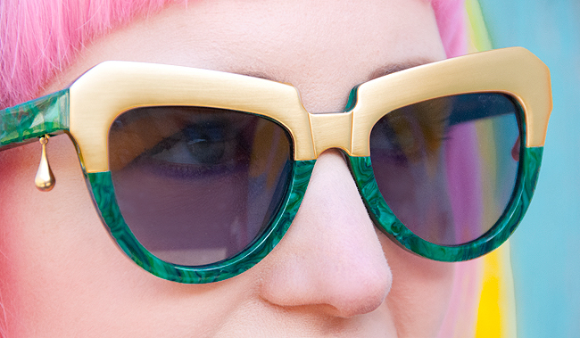 komono, green sunglasses, style blogger
