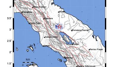 Karo Diguncang Gempa Tektonik