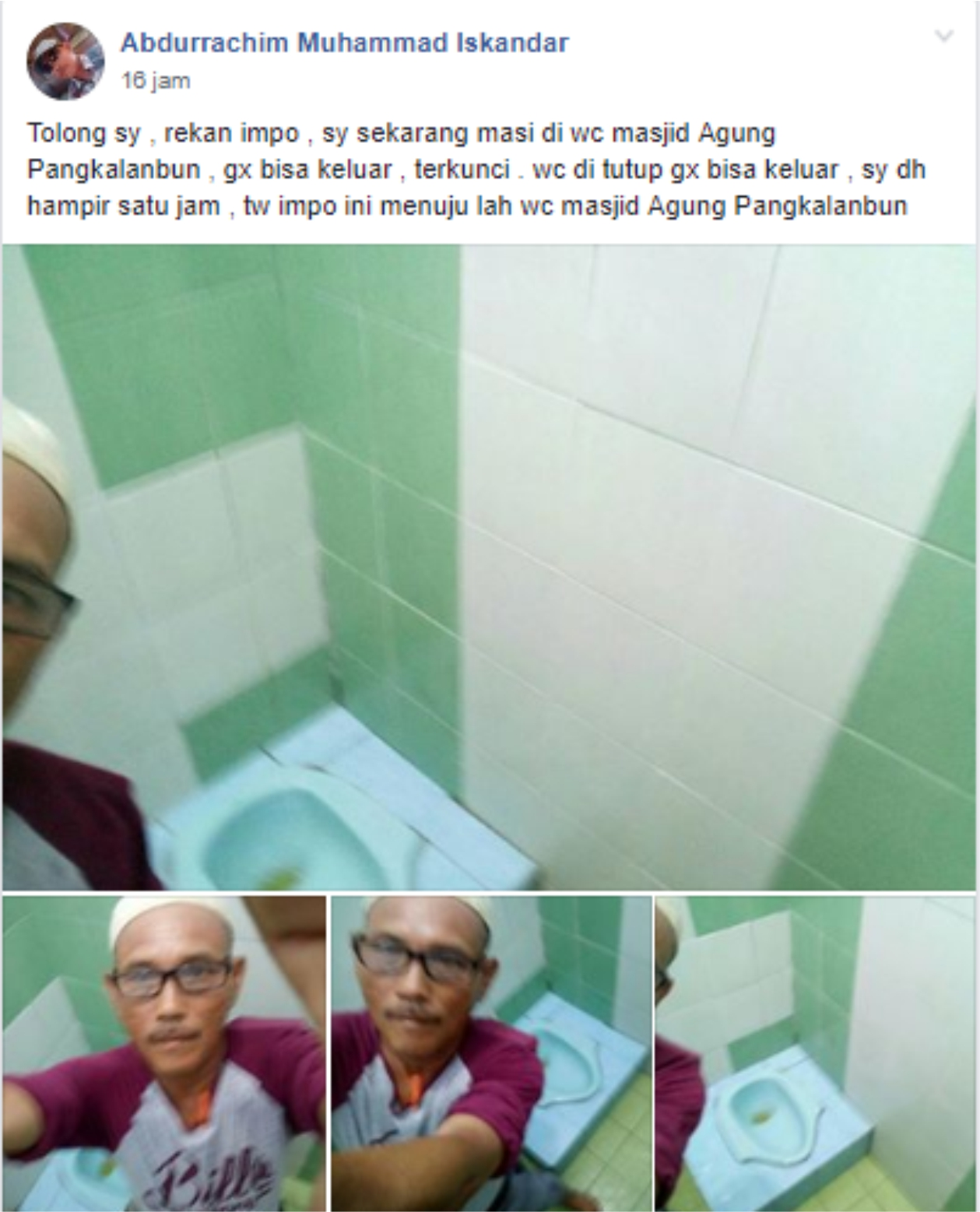 Seorang Pria Terjebak di Dalam WC Masjid Agung Pangkalanbun