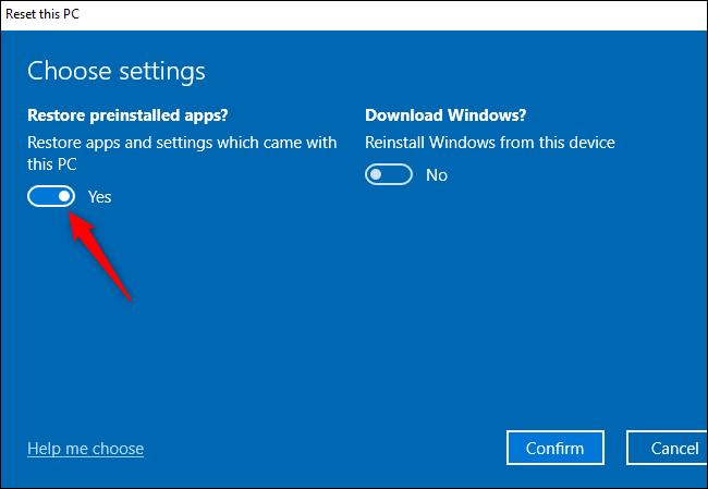 """""""هل تريد استعادة التطبيقات المثبتة مسبقًا؟""""  خيار تنفيذ Fresh Start على نظام التشغيل Windows 10."""