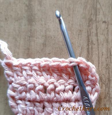 crochet under both loops
