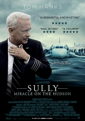 "Photo of cover with tom hanks in suit and tie and airplane text: Tom Hanks ""Suspenseful and riveting"" 5 stars ""Nail biting"" 4 stars ""A triumph"" 5 stars. Sully Miracle on the Hudson"